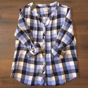 2/$15 Blue Gingham Button Up Top